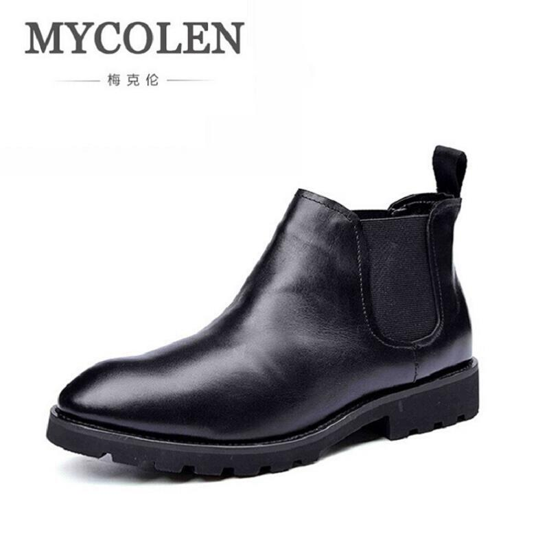 MYCOLEN Fashion Boots Men Casual Round Toe Autumn Mens Chelsea Boots Slip On Men Ankle Boots Low Heel Black Non-slip Men's Shoes farvarwo formal retro buckle chelsea boots mens genuine leather flat round toe ankle slip on boot black kanye west winter shoes