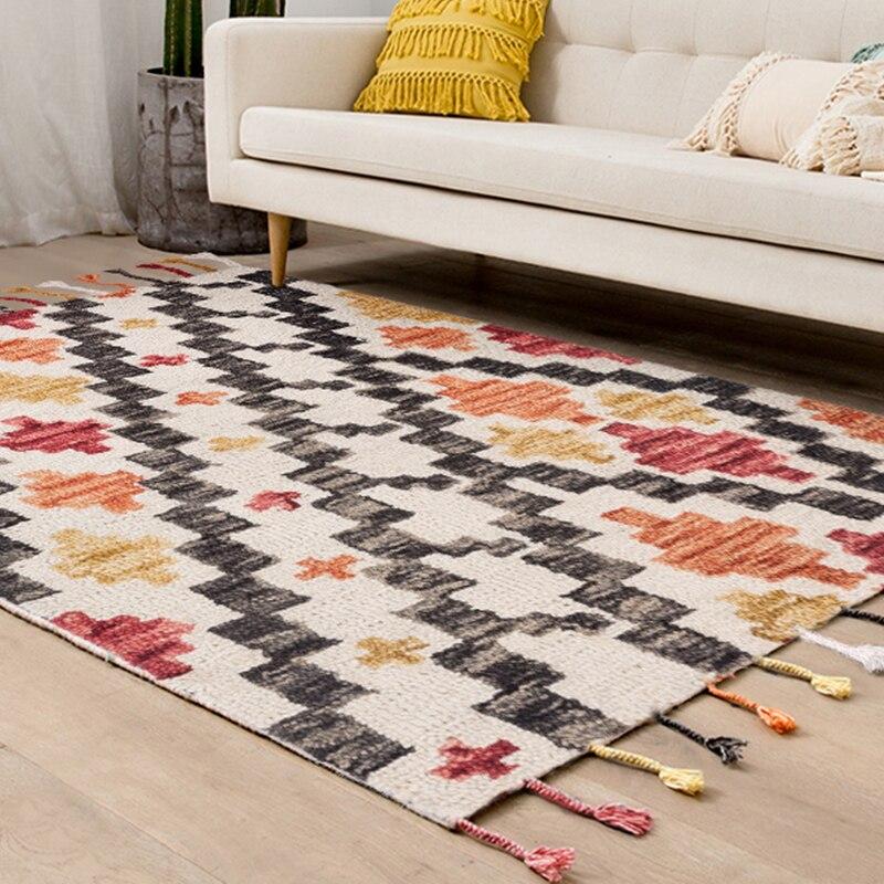 L'inde importe Kilim tapis en laine fait main salon canapé thé Table tapis avec américain géométrique épaissi tapis Villa utilisation