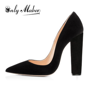 Image 1 - Onlymaker Womens Pointed Toe Block Classic 12cm High Heels Slip On Thick Shoes Wedding Office Dress Big Size Chunky Lady Pumps