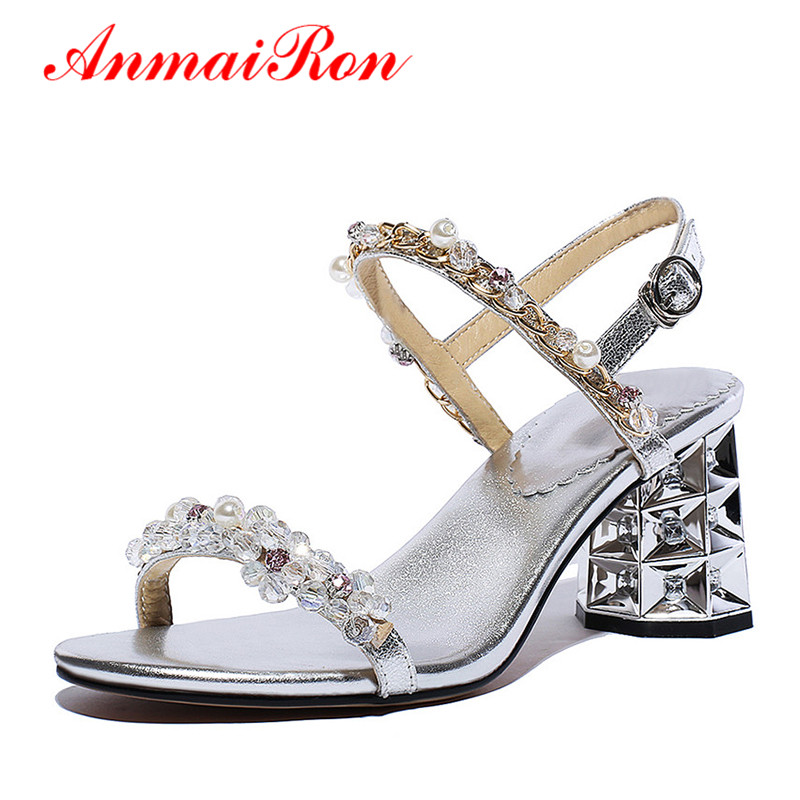 ФОТО ANMAIRON Summer Shoes Women Open Toe High Heels Ladies Sandals Women Rhinestone Strappy Crystal Sandals Female Pink Silve Shoes