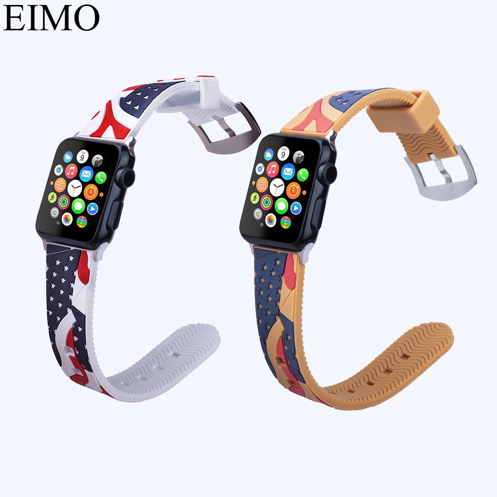 EIMO New Sport Silicone Strap For apple watch bands 42mm 38mm Wrist Bracelet watchband for iwatch series 3 2 1 Accessories Belt new sport silicone strap for apple watch band 42mm 38mm wrist bracelet watchband for iwatch series 3 2 1 two color watch belt