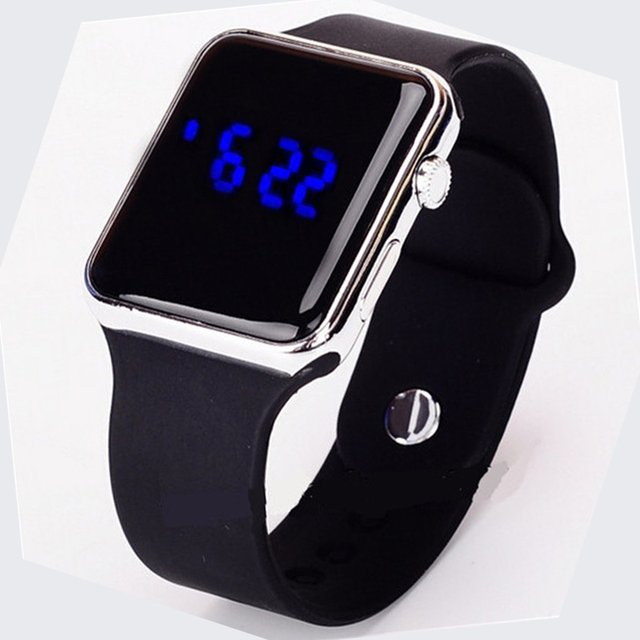 New Blue light Square Mirror Face Silicone Band Digital Watches LED Watches Metal frame WristWatch Sport Clock Hours 4 colour 1