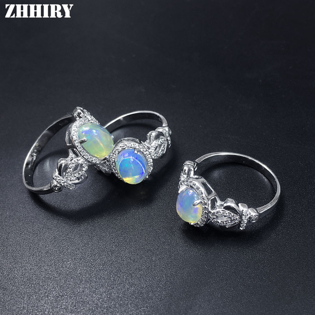 ZHHIRY Genuine Natural Fire Opal Ring Solid 925 Sterling Silver For Women Colour Gem Stone Rings Fine Jewelry