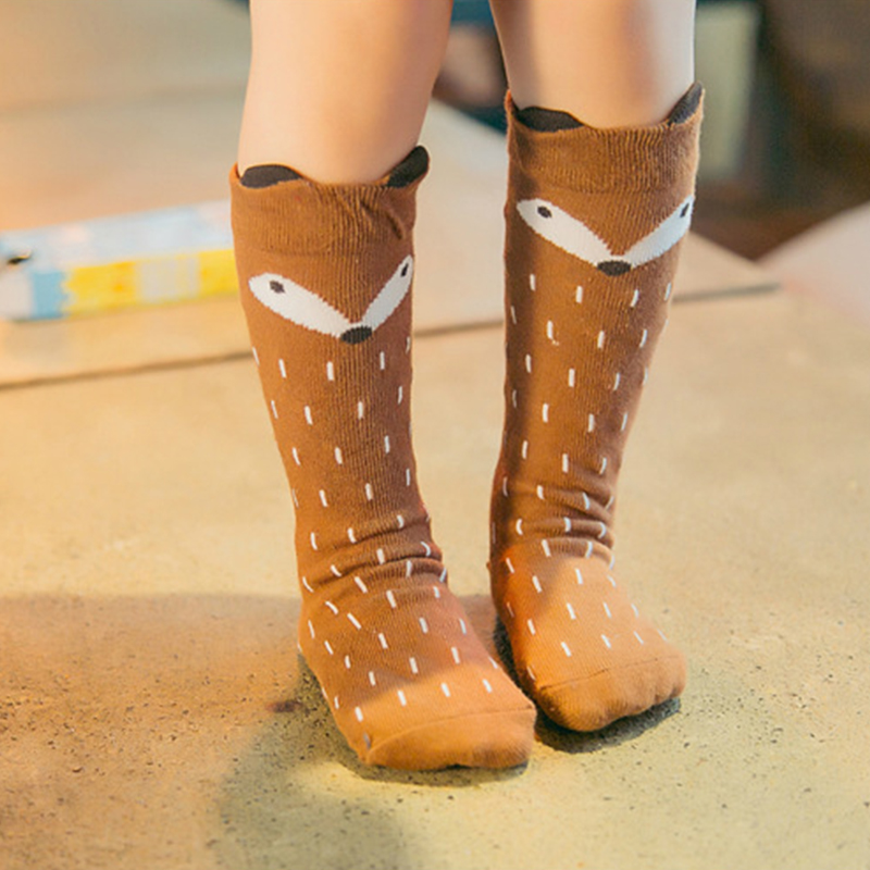2016 Autumn Winter Hot Cute Kids Fox Socks Totoro Socks Bear Pancake Cartoon Girls Knee High Socks baby Long Socks New Hot Sale nfl fan merchandise socks new england patriots team logo leopard print knee high socks brand new