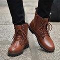 Осень Зима Мужчины Сапоги зашнуровать плоские Мартин сапоги Кожаные Стадо ботильоны для мужчин Черный Коричневый Топ высокие Мужчины обувь Горячие продаж
