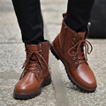 Autumn Winter's Men Boots Lace up flat Martin boots Leather Flock Ankle boots for men Black Brown Top high Men shoes Hot sales
