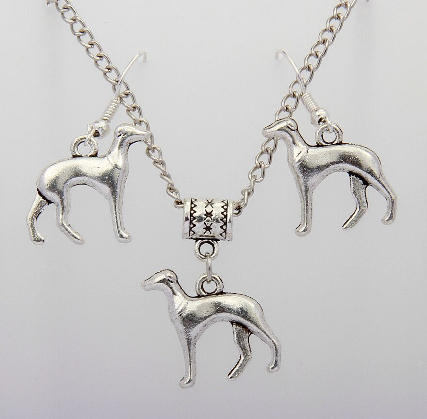 Hot Fashion Vintage Silver Greyhound Dog Charms Pendants For Necklace&Earring Set DIY Jewelry Accessories For Women 10Set S908