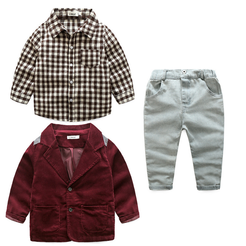 2017 Autumn baby boys plaid cotton shirts jacket trousers suit fashion kids casual clothes spring gentleman party clothes 17S709