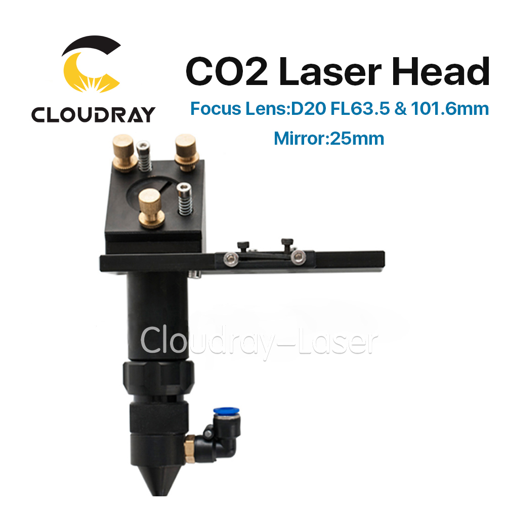 Cloudray CO2 Laser Head 63.5mm Focus Lens 20mm Reflective Mirror 25mm Integrative Mount Laser Engraving and Cutting Machine factory supply co2 laser second reflection 25mm mirror mount support integrative holder for laser engraving cutting machine