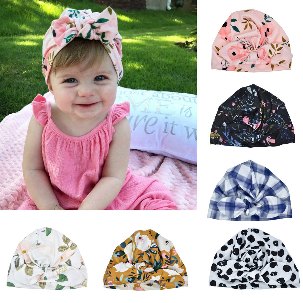 Newborn Baby Boy Girl Baby Soft Cotton Sun Hat Floral Bowknot Cap Toddler Turban Photo Props Indian Flower Cap Infant Hair Bands