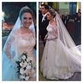 Long Off The Shoulder Lace Robe De Mariage Applique 2016 Wedding Dress Vestido De Noiva Floor Length Wedding Gowns z121705