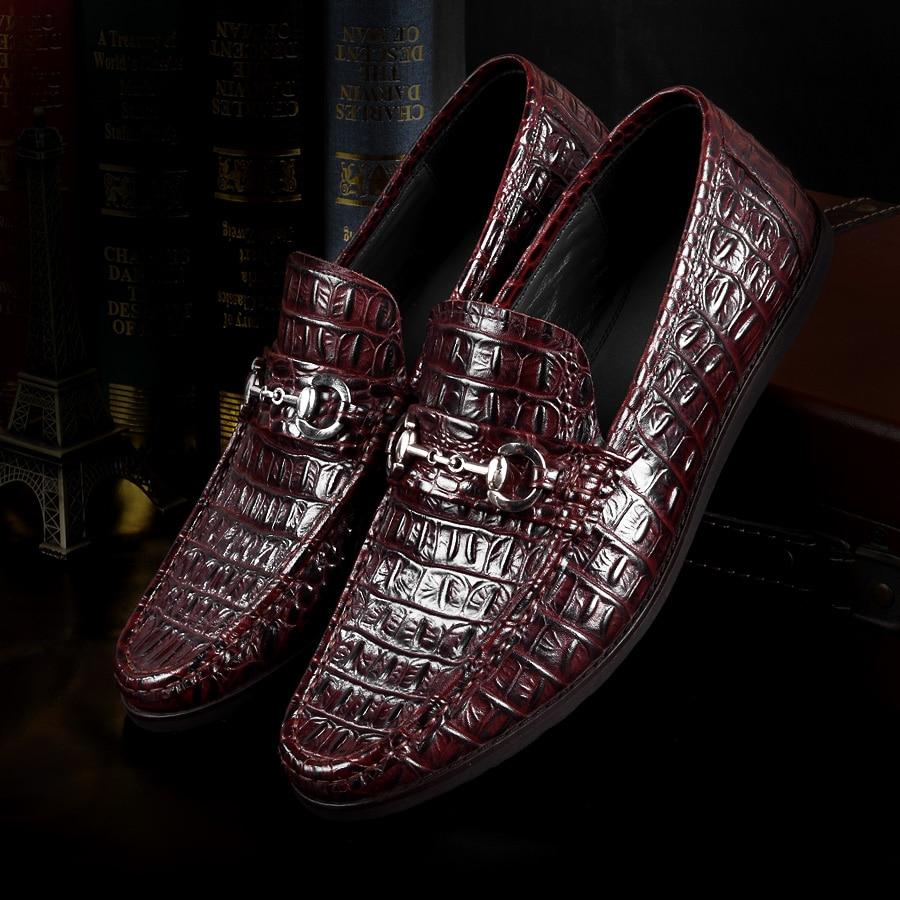 Dos vermelho Marca Confortáveis De Moda Macio Padrão Preguiçoso Couro Sho Sapatos Homens Pedal Claro Fundo Preguiçosos Handmade Mycoron Azul Genuíno Vinho Crocodilo f0Rfq