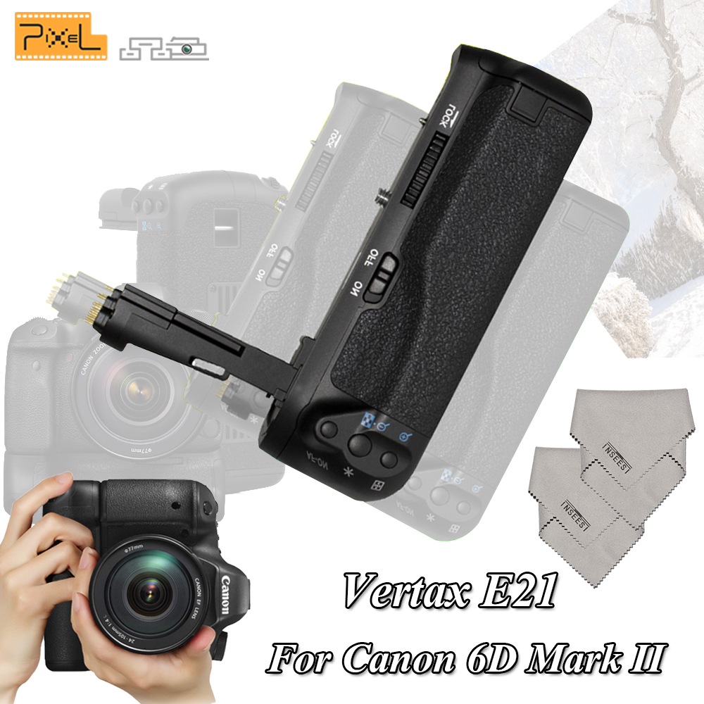 Pixel Profession Battery Grip BG-E21 E21 Handle for Canon 6D Mark II Camera Compatible For of LP-E6 and LP-E6N Batteries VS E20 camera battery grip pixel bg e20 for canon eos 5d mark iv dslr cameras batteries e20 lp e6 lp e6n replacement for canon bg e20