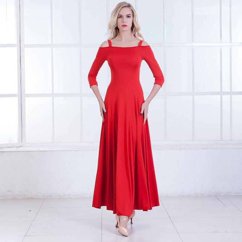 Show details for Modern Dance Dress Will Tank Shoulder Ballroom Dancing Show Serve Ballroom Dancing  Waltz Dance Dress