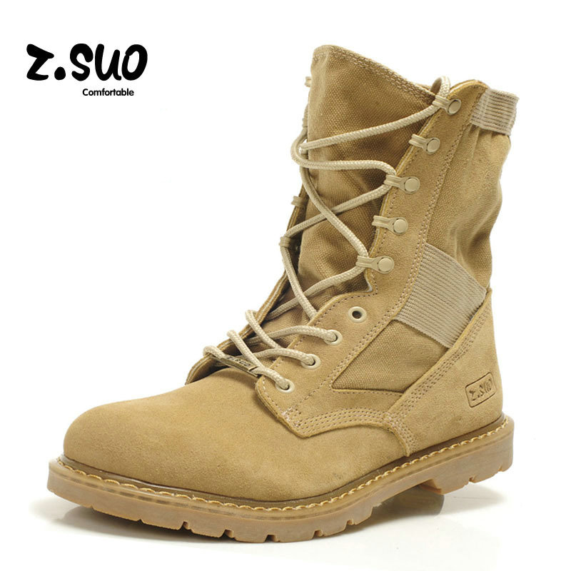 Men winter boots Genuine Leather Tactical Men s working Combat Hunting Military Boots Suede Stitching Canvas