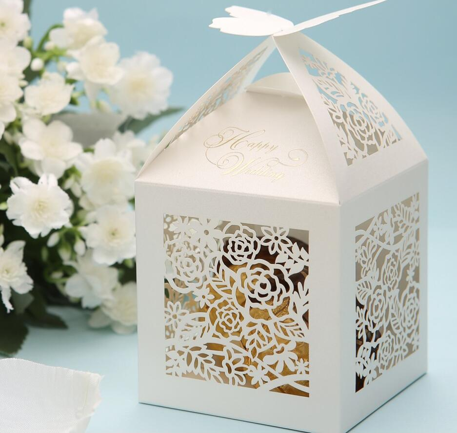 Laser cut floral with butterfly wedding party Sweets candy favor box ...