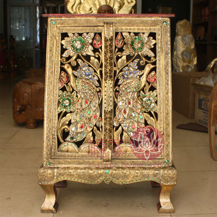 Wood Carving Peacock Small Corner Cabinet Jinkongque Cabinet 3 Cutout  Sculpture Paint Gold Furniture H