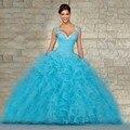 Nova Chegada 2017 De Alta qualidade Sexy Azul Vestidos Quinceanera azul vestido de baile sweetheart frisada lace up sweet vestido de vestido marmelo
