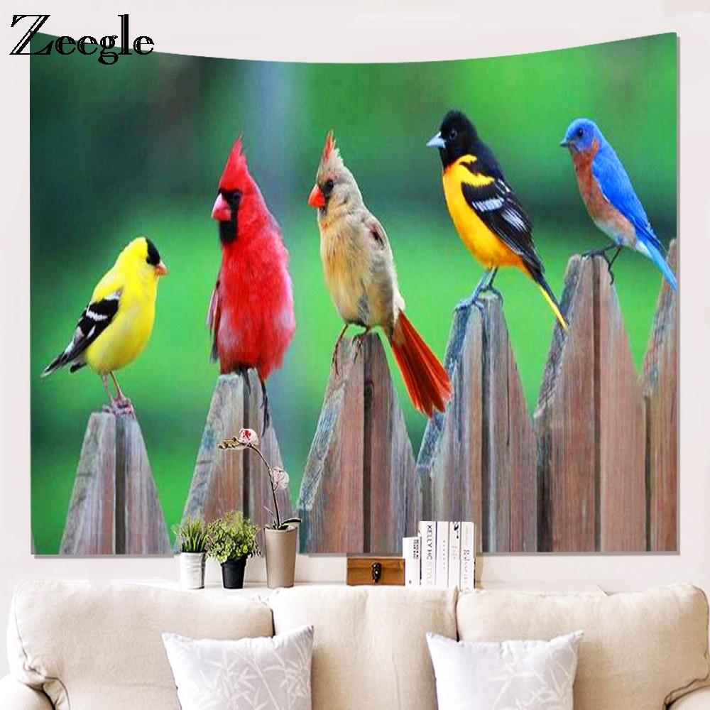 Zeegle Bird Prinetd Wall Hanging Tapestry Home Wall Decor