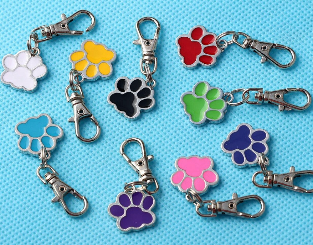 Enamel CAT DOG Palm PAW PRINT Keychain Vintage Silver For Keys Car key Chains Brand Gifts ...