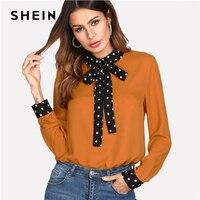 SHEIN Polka Dot Tie Neck Bow Cuff Blouse Women Patchwork Orange Long Sleeve Colorblock Top 2018