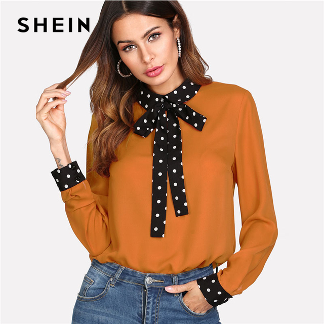12fc9ff37f SHEIN Polka Dot Tie Neck Bow Cuff Blouse Women Patchwork Orange Long Sleeve  Colorblock Top 2018 Spring Casual Work Blouse