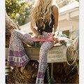 Venda quente do verão das mulheres calça casual cintura alta flare ampla perna Calças Compridas Calças Palazzo Floral Plus Size Calça Clássico Preppy