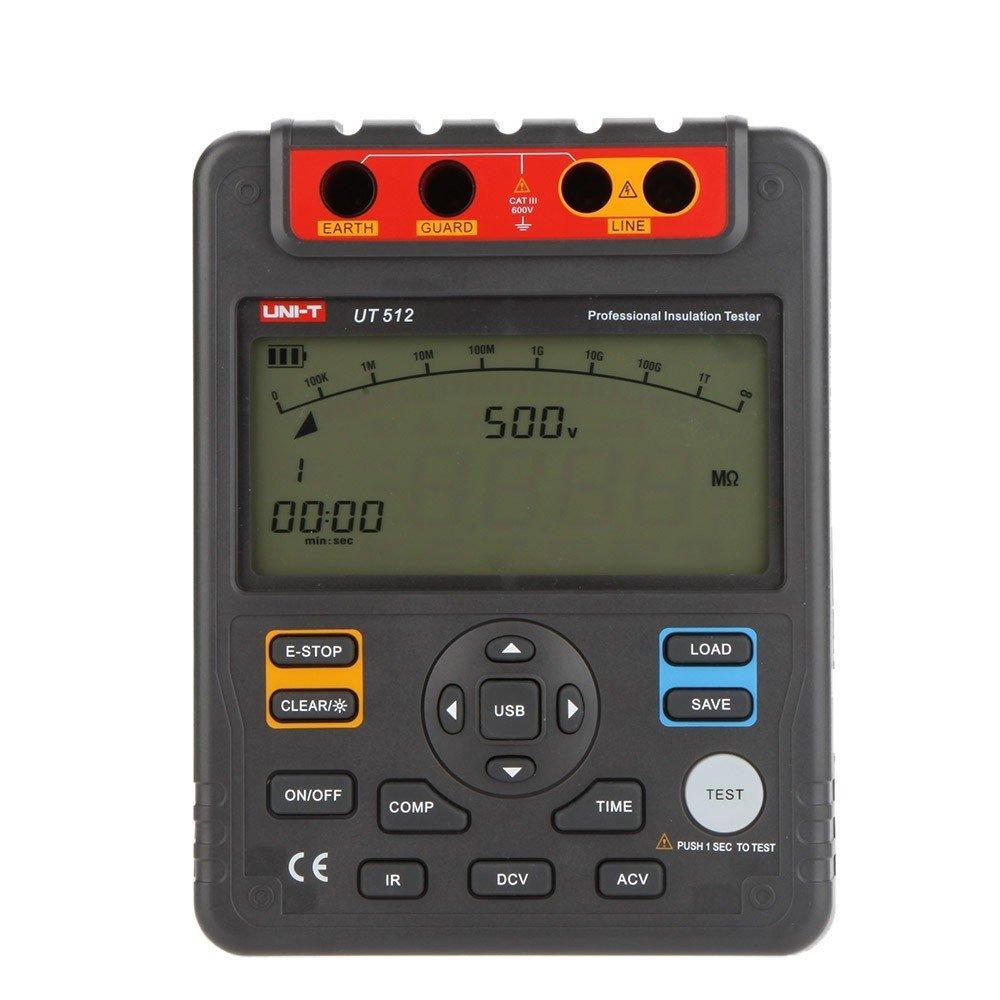 UNI T UT512 MAX 100 Gohm Voltímetro Digital Isolamento Tester Megger Megohmmeter PI/DAR uma bateria De Armazenamento de Dados USB interface de LCD backlight