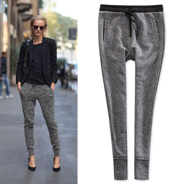824a6fe3c3 High Quality Womens Spring Cotton Gray Pants Linen Knit Sweatpants  Female/Lady Elastic High Waist Women Casual Skinny Gray Pants