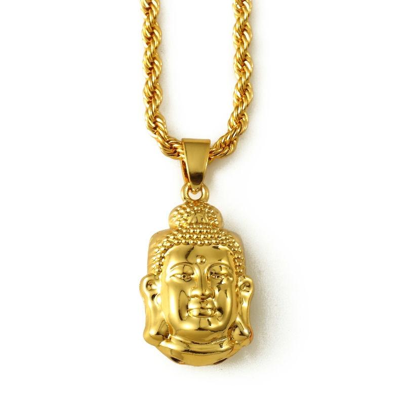 Men Women Tathagata Buddha head Necklaces Golden Hip Hop charm ...