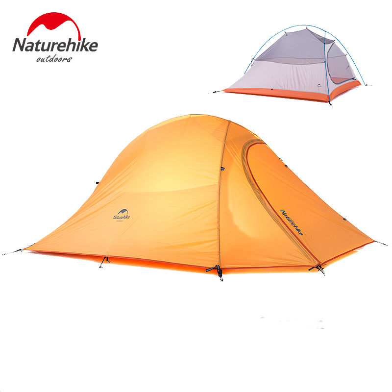 Naturehike Tent 20D Silicone Fabric Double-layer Camping Tent Ultralight Outdoor Tent 4Seasons for 2Persons NH15T002-T mobi garden outdoor camping tent 4 seasons double layer aluminum tent two rooms big camping tent super large 3 4 persons tent
