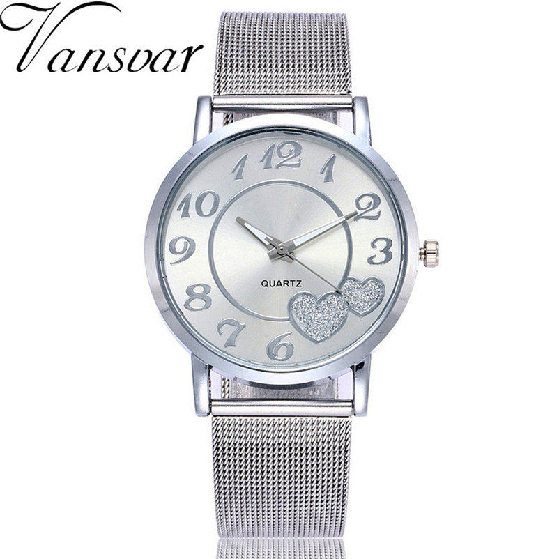 Vansvar Fashion Women's Watches Casual Watches Quartz Stainless Steel Band Strap Analog Wrist Watch Clock Women Relogio Feminino vansvar brand fashion casual relogio feminino vintage leather women quartz wrist watch gift clock drop shipping 1903