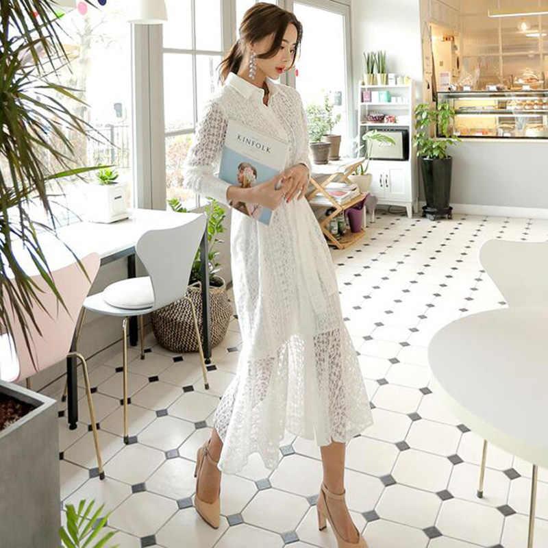 Винтажное открытое кружевное женское длинное платье однобортное Бандажное элегантное женское платье русалки с длинным рукавом Vestidos femme