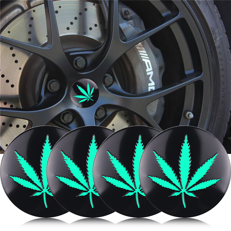 Car Styling 4pcs 56mm Weed Leaf Emblem Tire Wheel Cap Badge Sticker For Mitsubishi Renault Honda Toyota Hyundai Opel Accessories