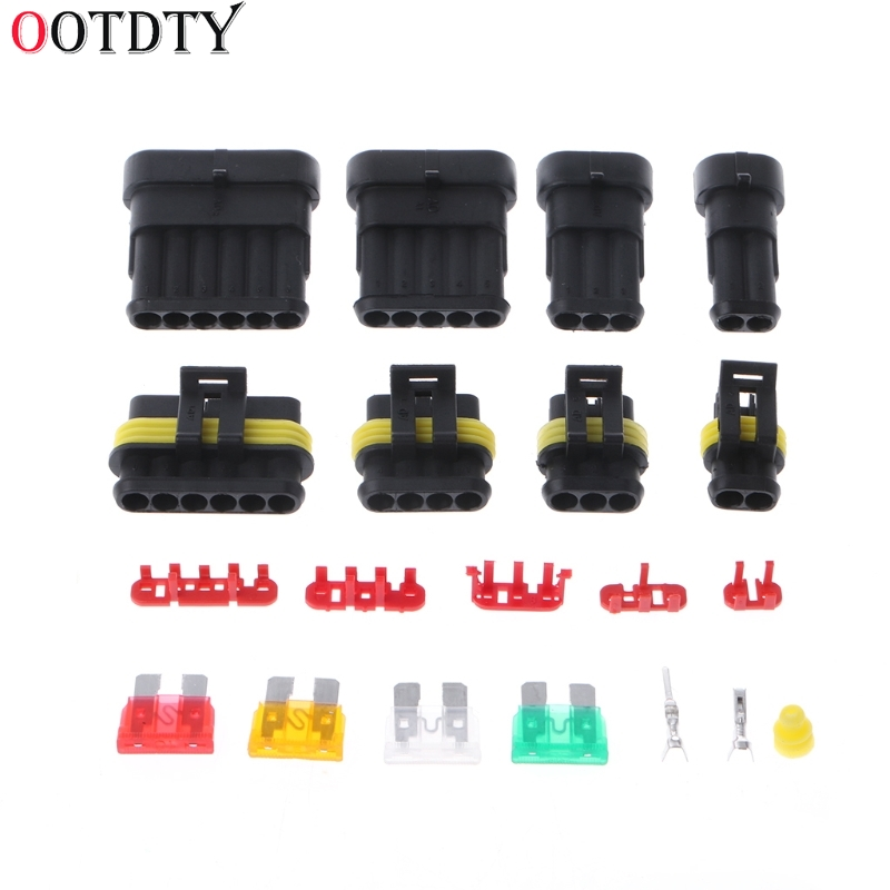 OOTDTY 240 Pcs Superseal AMP/Tyco Waterproof 12V Electrical Connectors Kit 1/2/3/4/5/6 Way Pin цена