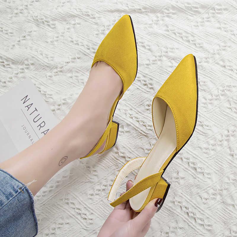 Kadın yüksek topuklu ayakkabılar sivri süet kaliteli düşük topuklu ayakkabılar yaz rahat ayakkabılar 39 casual sandalet yeni moda