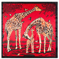 60 cm * 60 cm europeus e americanos grande giraffe animal impressão de seda das senhoras pequeno lenço quadrado lenços atacado