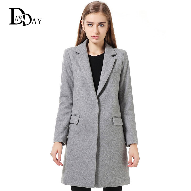 2015 Women's Designer Wool Coats Ladies Solid Grey Navy Pocket ...