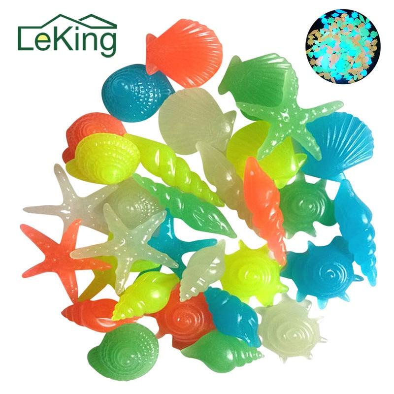 50 יחידות צבעוני אבנים בצורת כוכב ים הקונכייה מעטפת זוהר זוהר דקורטיבי דגי הגן אקווריום טנק בריכת נוף