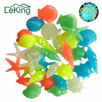 50PCs Colorful Luminous Starfish Conch Shell Shaped Glowing Stones Decorative For Garden Aquarium Fish Tank Pool Landscape