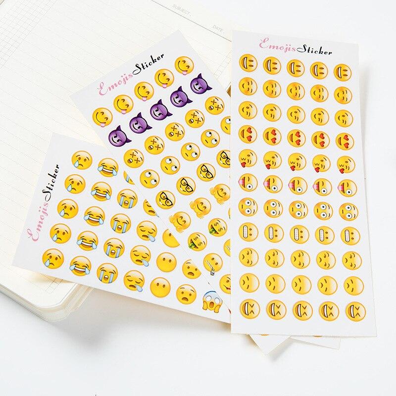 1 Лист 55 Наклейки симпатичные маленькие бумажные Emoji Smily Лица Наклейки дешевые школы канцелярские Twitter Игрушка Большой Viny Instagram дневник