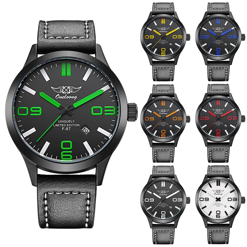 7 Colors Simple Sports Watch Men Fashion Wrist Watches Leather Strap Date Clock Quartz Wristwatch For