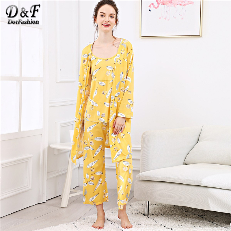 Dotfashion Yellow Leaf Print Cami   Pajama     Set   With Robe Women Fall Clothing 2019 Casual Summer Long Sleeve Nightwear   Pajama     Sets