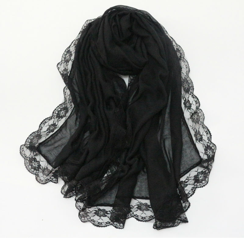 2016 Women Lace plain hijabs Floral Lace borders Scarf Viscose soft ladies solid scarves romantic luxury shawl muslim head wraps