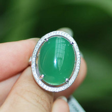 LANZYO 100% 925 Sterling Silver Rings Natural Green Chalcedony Fine Jewelry Birthday for Women trendy wholesale tj1066