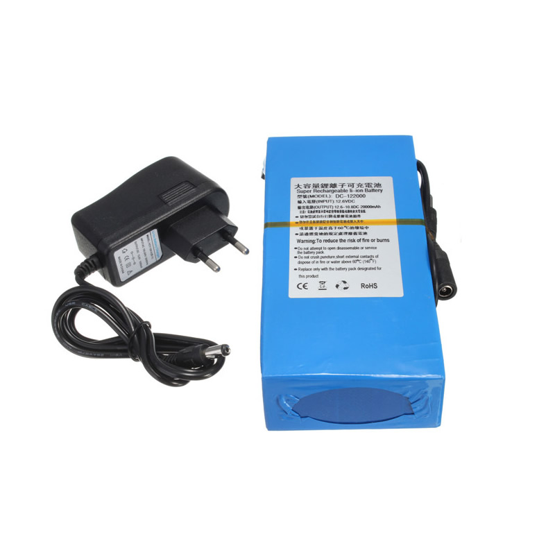 2017 New Arrival D C 12V 20000mAh Li ion Super Rechargeable Battery Pack + AC Charger W/ EU Plug