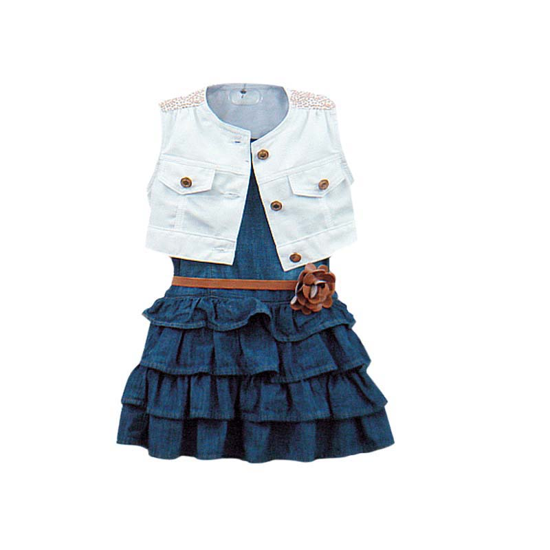 Cowgirl Summer Sets Jacket Layered skirts 2pc Girls Suits Models Vest Jeans Children Clothes Sets 2-7 Years LQW851  title=