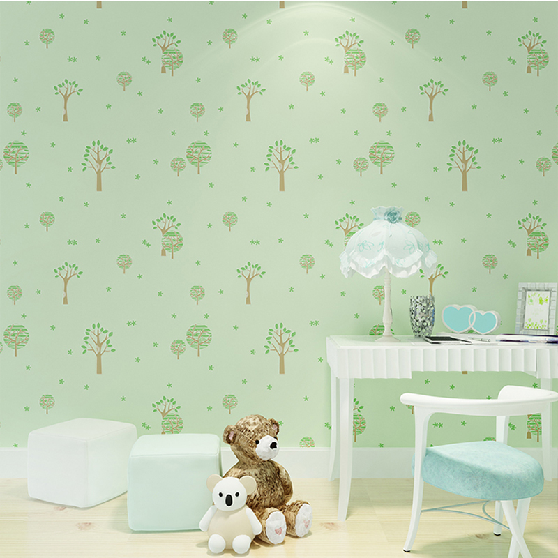 Modern Pastoral Wall Paper for Children Room Walls Trees Wallpapers Roll Kids Wallpaper for Walls 3D Wallpaper Green for Bedroom the walnut trees of altenburg paper only