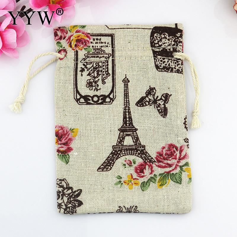 YYW 2017 Jewelry Bags Pouches Eiffel Tower Cotton Fabric Bags Gift Bags Candy Jewelry Packaging Organza Bags Pouches