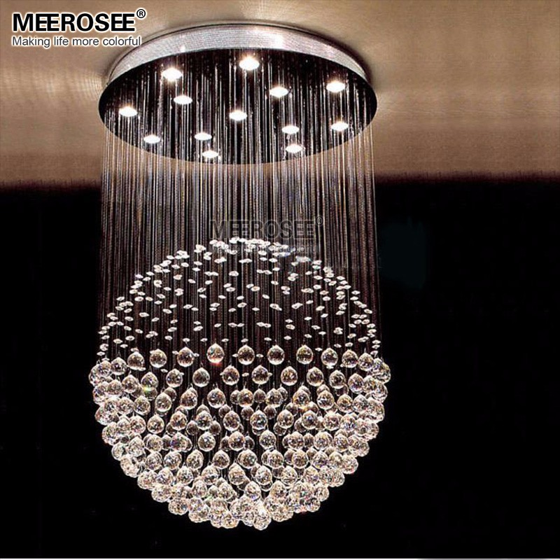 Modern Clear Crystal Chandelier Lighting Ball Shape Spiral Sphere Lustre lampara techo Mounted Lamp Suspension luminaria Light